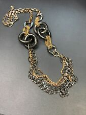 """Necklace Gold black gunmetal gray waterfall long sweater length chain 36"""" """""""