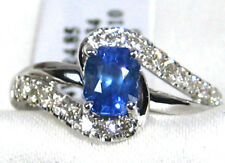 Blue Sapphire Ring 14K white gold CERTIFIED Untreated Heirloom 1.44ct. $4,961