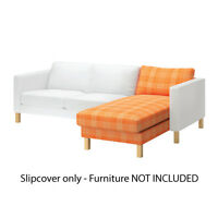 IKEA Karlstad Cover Slipcover for Chaise Lounge Husie Orange Beige 102.547.08