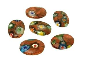10 Millefiori Sparkly Gold Stone Rare Murano Glass 18mm Puffed Oval Focal Beads
