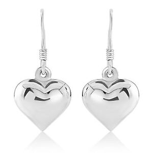 Sterling Silver 925 Rounded 3D Puff Heart Drop Earrings