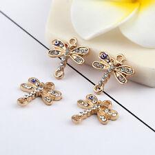 10pcs Gold Dragonfles Beads Connector Rhinestones Blue Eyes DIY Bracelet 17*17mm