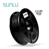 SUNLU PETG 3D Printer Filament 1.75mm 1KG/2.2LB Spool Black 3D Printer Material
