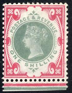 GB 1887-1990 1s. Green & Red Mint Hinged SG 214 Cat.£65