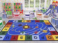 Solar System Design Area Classroom Rug Blue Base Multi Color Kid Children Room