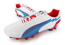 PUMA Soccer Cleats evoPOWER 5 LEATHER FG men size 8.5 white/red FOOTBALL BOOTS