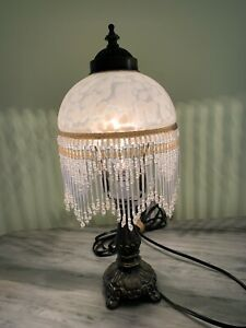 VICTORIAN STYLE BEADED FRING LAMP