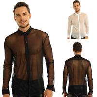 Mens Button Shirt See Through Mesh Long Sleeve Clubwear Shirt Tops Party Costume