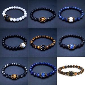 Gemstone Strand Alloy Crown Ball Bracelet Mens Black Natural Stone Beads Charm