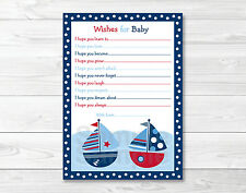Sail Away Sailboat Nautical Printable Baby Shower Wishes for Baby Advice Cards