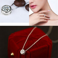 Women Fashion Round Single Crystal Rhinestone Silver Chain Pendant Necklace Gift