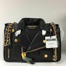 Moschino Black Motorcycle Biker Leather Jacket Shoulder Bag Jeremy Scott NWT