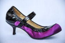 LANVIN Womens Purple Black Patent Ballet Ballerina Mary Jane Heels Shoe 6.5-36.5