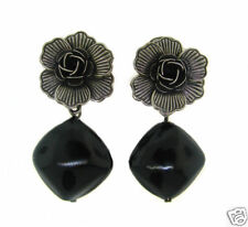 Stylish SILVER FLOWER with BAKELITE RHOMBUS EARRINGS