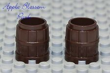 NEW Lego x2 Minifig DARK BROWN BARREL Wood Pirate Castle Kingdom Container 2x2x2
