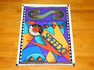 Vtg 1990s Speedo Retro Swim Suit Banner Sign Sports Store Display Wall Ad Poster