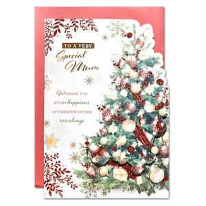 SPECIAL MUM CHRISTMAS CARD ~ LARGE SIZE QUALITY CARD RED TREE DESIGN
