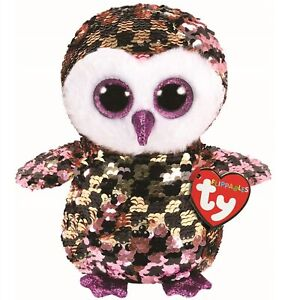 Ty Beanie Flippables 36673 Checks the Black Pink Owl Sequin Flippable Regular