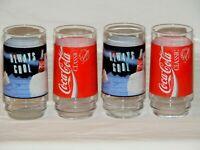 Set of 4 INDIANA Glass COCA COLA Glasses Tumblers 5 3/4 USA Red Label/Polar Bear
