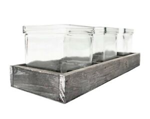 Rustic Wooden Tray & Three Square Clear Glass Tea Light Candle Holders Wedding