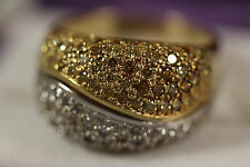 HEAVY WIDE 18K SOLID GOLD CANARY YELLOW CHOCOLATE CHAMPAGNE DIAMOND RING 18KT