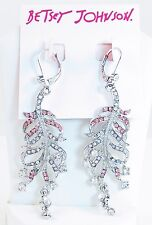 New BETSEY JOHNSON Ballerina Rose Pink Pave Silver-Tone Feather Drop Earrings