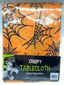 Halloween Table Cloth Tablecloth Cover Party Kids WIPE clean Spider Web Orange