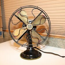 Vintage Robbins & Myers Fan -  3 Speed Oscillating - Brass Blades - 9""