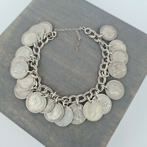 Vintage Silver Three Pence Penny 3p Coin Bracelet Rare 1917 - 1936 40g 20 Coins