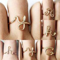 Hot Charm Gold Letter Alphabet Women Finger Wedding Rings Jewelry Gift Fashion