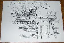 Pair Ink Landscape Drawings, Karl Mattern Listed Iowa, Kansas Artist