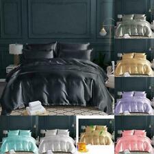 Luxurious Satin Silk Bedding Set Duvet Quilt Cover With Pillow Case UK US Size