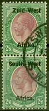 More details for s.w.a 1923 2s6d purple & green sg9 setting i v.f.u vert pair
