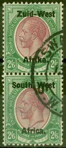 S.W.A 1923 2s6d Purple & Green SG9 Setting I V.F.U Vert Pair