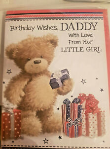 DADDY BIRTHDAY CARD FROM YOUR LITTLE GIRL - FULL COLOUR INNER PICTURE & VERSE
