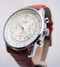 Nuevo reloj Rotary para caballero con cronógrafo marrón cuero tostado RRP £ 190 En Caja