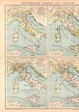 15 Stück Historische Karten von Italien, Lithographie. Originale um 1900 (X55)