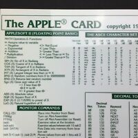 Vintage Apple II reference sheet The APPLE CARD 1980 Applesoft bus pinouts