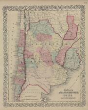 "1861 Colton's  ""Argentine Republic, Chili, Uruguay & Paraguay""-original,"
