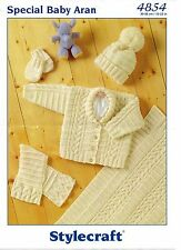Stylecraft 4854 Baby Aran Knitting PatternScarf Jacket Mittens Hat Cardi 12-22""