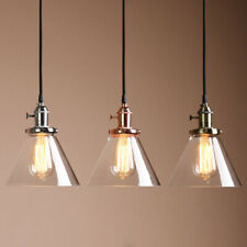 "7.3"" FUNNEL GLASS SHADE VINTAGE INDUSTRIAL CEILING PENDANT LIGHT RETRO LOFT LAMP"