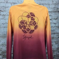 Good Karma Life Is Good Sleep Shirt XS Open Front Orange Ombre Lotus Flower yoga