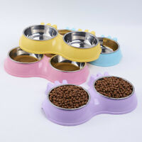 Supplies Dog Cat Stainless Steel Pet Bowl Puppy Feeder Water Food Dish Double