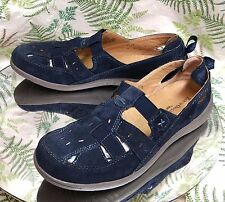 EARTH ORIGINS NAVY BLUE LEATHER LOAFERS SLIP ONS SANDALS SHOES US WOMENS SZ 10 W