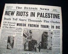 New listing Jerusalem Riots Jewish Jews vs. Arabs Muslims Haganah Zion Square 1947 Newspaper