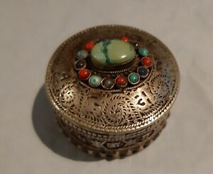CHINESE SILVER REPOUSSE BOX. STONES INLAID. CORAL. TURQUOISE. LAPIS