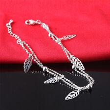 Fashion Ankle Bracelet 925 Sterling Silver Anklet With Stunning Elegant Leaf