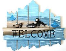 Türschild Welcome willkommen Holz 29 X 23 Cm mit Robben