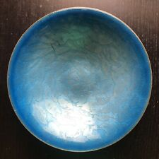 Vintage Mid Century Modern WEBER Signed Blue Enameled German Bowl Art