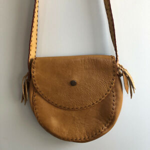 Boho Leather Handbag Crossbody BAG circular Artisan Handstitched Brown Tassels